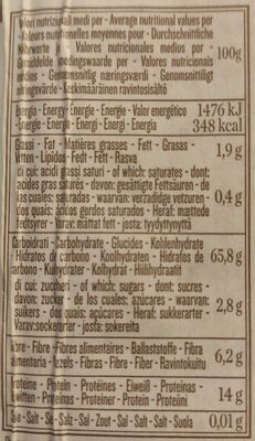 Integrale Penne Rigate No 66 - Valori nutrizionali