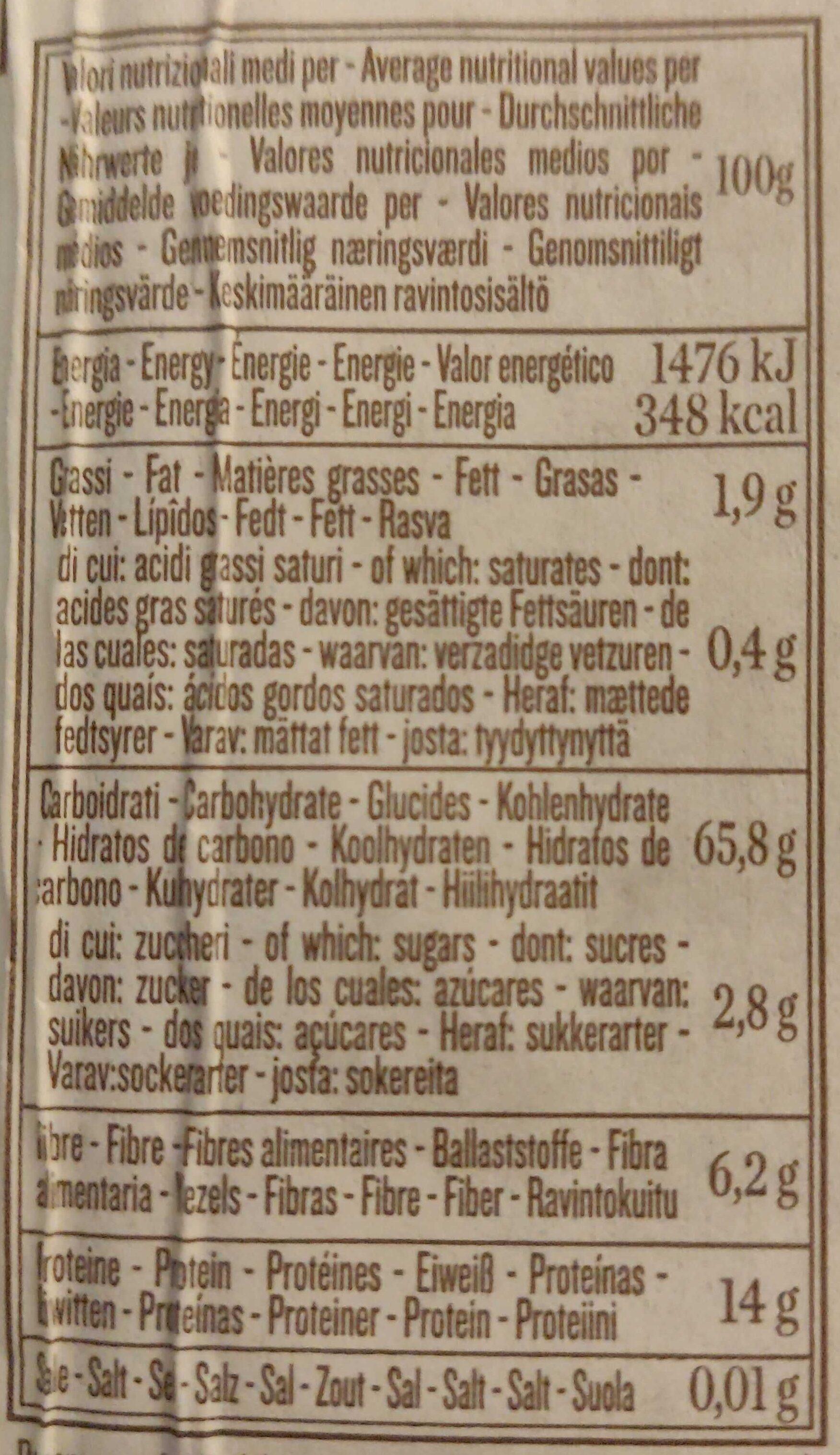 Integrale Penne Rigate No 66 - Valori nutrizionali - it