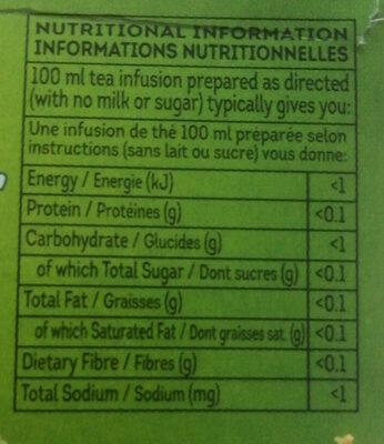 Lipton Clear Green Tea - Informations nutritionnelles - fr
