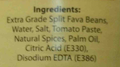 luna peeled foul - Ingredients
