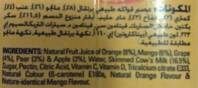 Danao - juice milk - orange mango - Ingredients - en