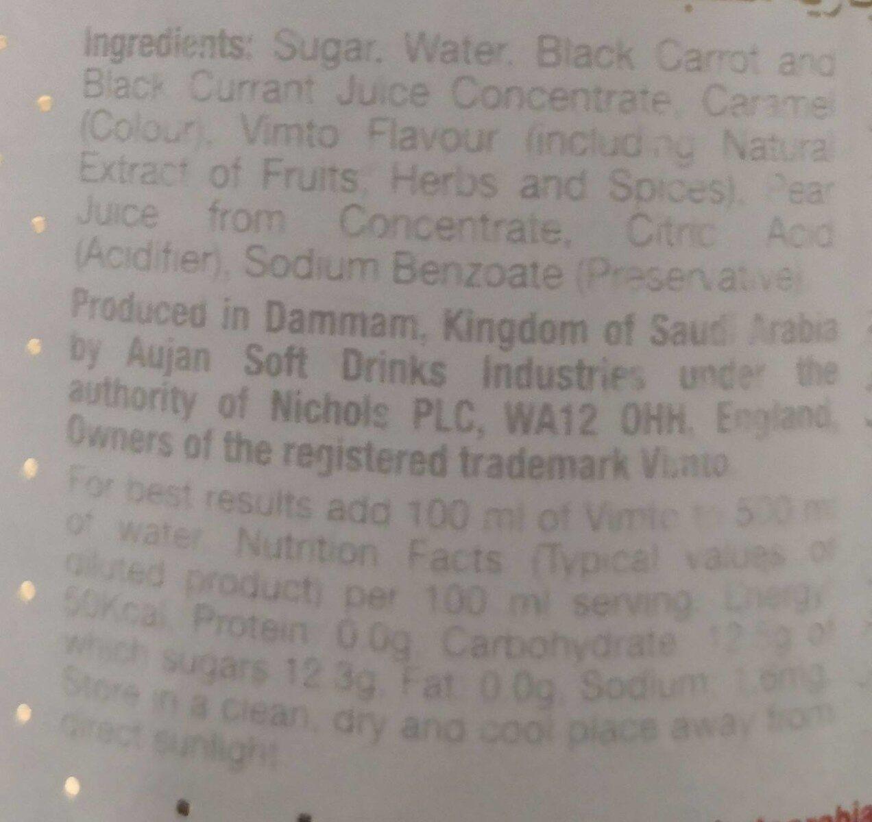 Vimto Squashes Fruit Cordial - Ingrédients - fr