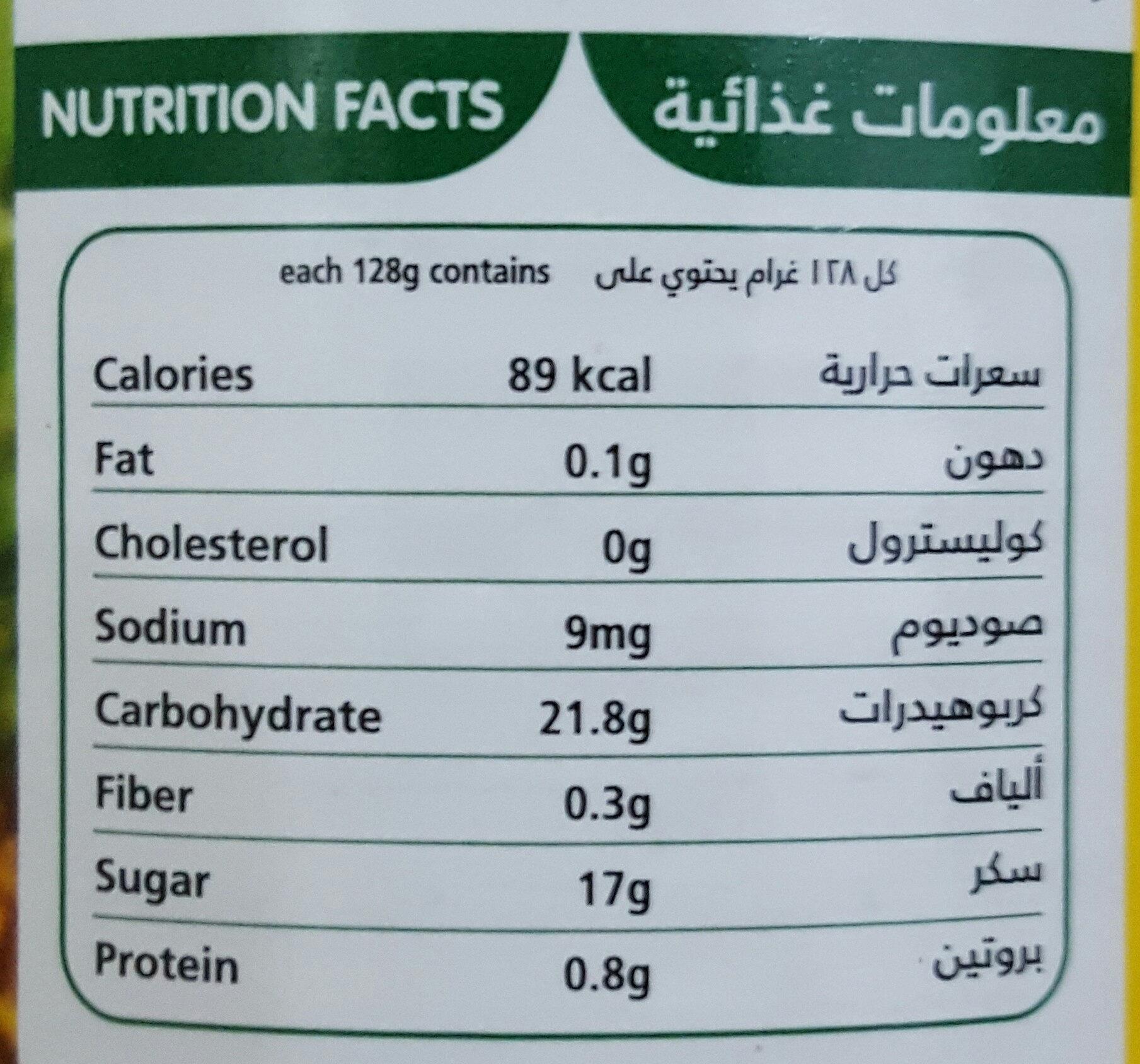 فواكه مشكلة - Nutrition facts - ar