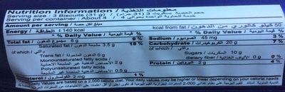 Britannia Chocolate Chip - Informations nutritionnelles - fr