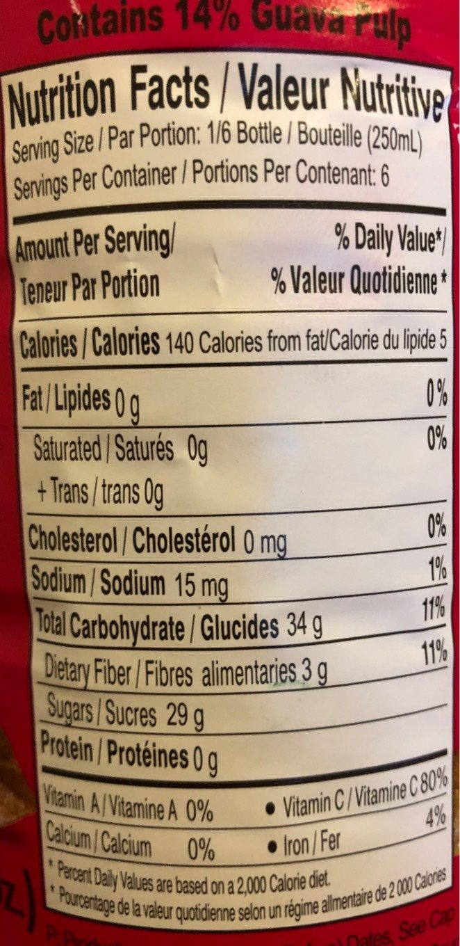 Goyave genial - Nutrition facts