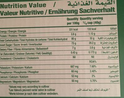 Date Crown Fard Premium Emirates Dates (1KG) - Informations nutritionnelles - fr