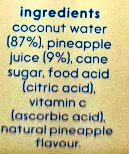 Cocobella Coconut Water Pineapple - Ingredients - en
