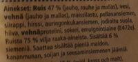 Grano Reikäleipä - Ingrédients - fi