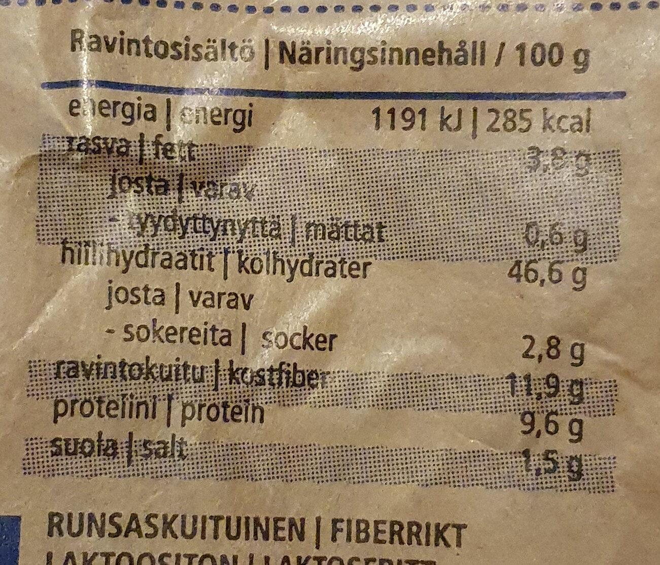 Grano Reikäleipä - Informations nutritionnelles - fi