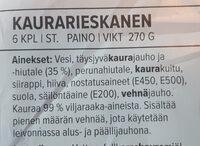 Kaura-rieskanen - Ingrédients - fi