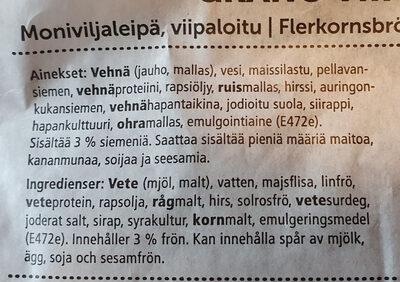 Grano viipaleet - Ingrédients