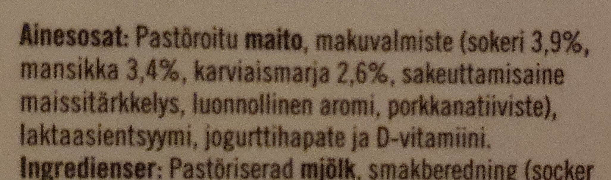Karviaismarja-Sitruunaruoho-Jogurtti - Ingrédients - fi