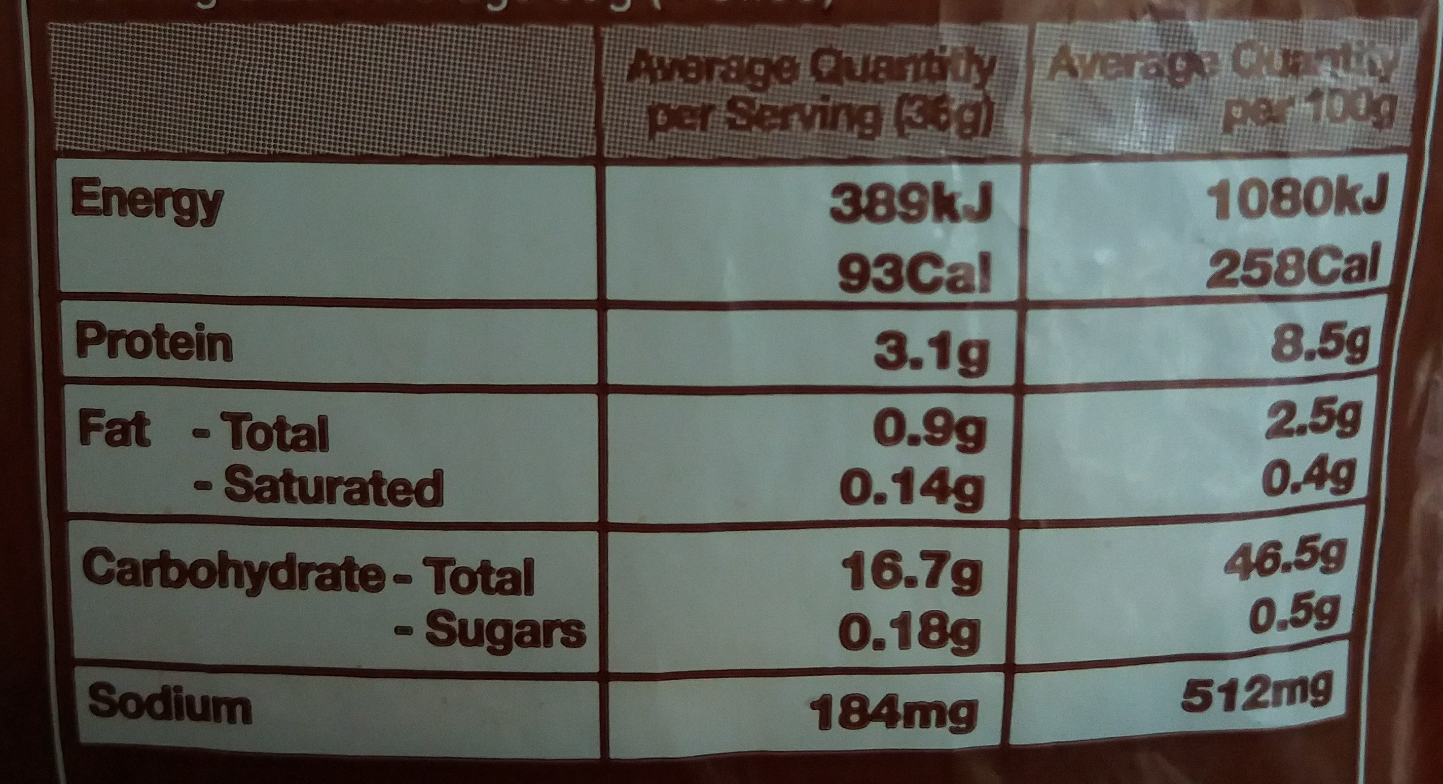 Wholemeal Family Loaf - Nutrition facts - en