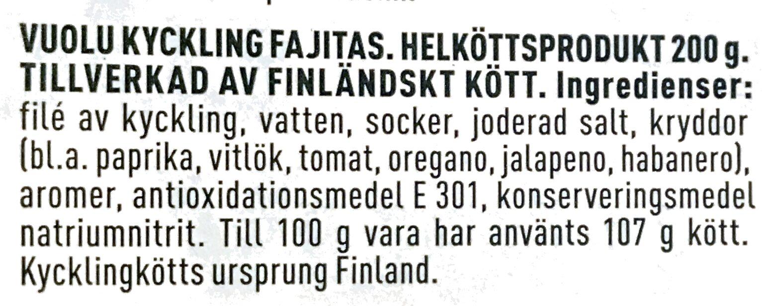 Vuolu Kyckling Fajitas - Ainesosat - sv