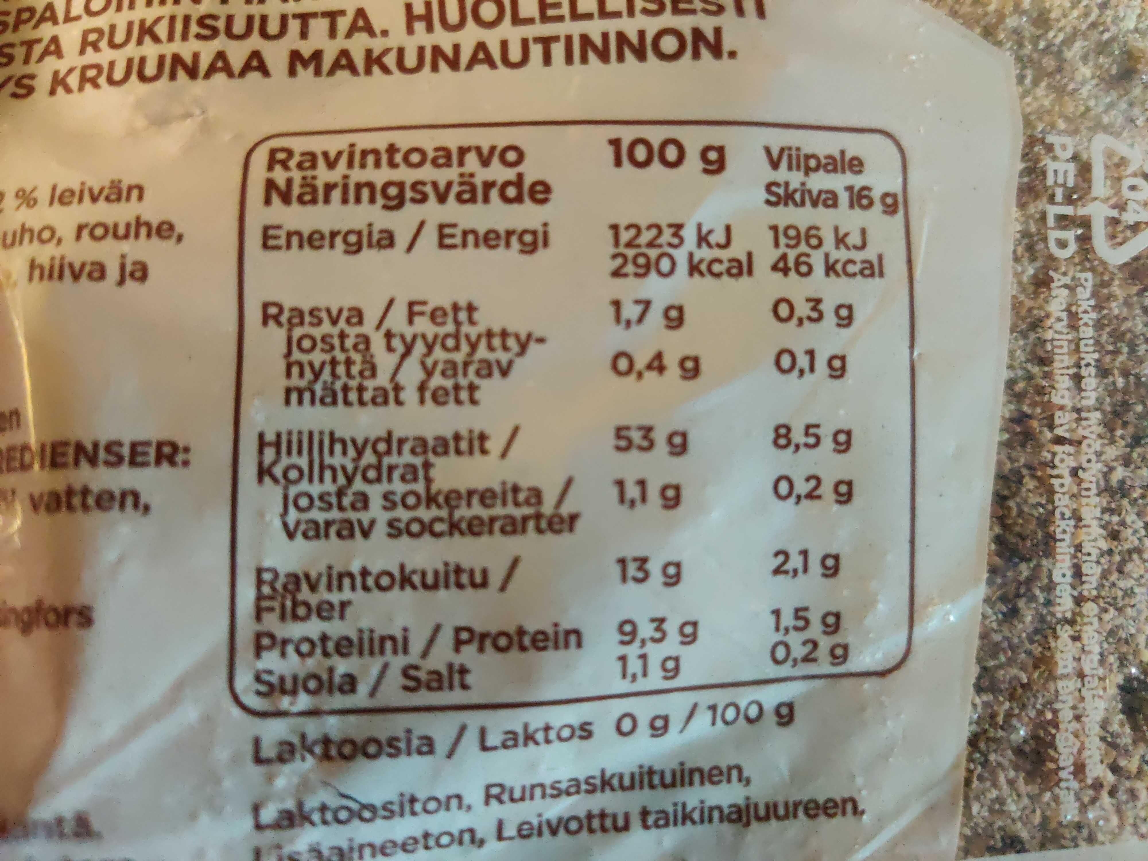 Ruispalat ohut herkku - Informations nutritionnelles - en