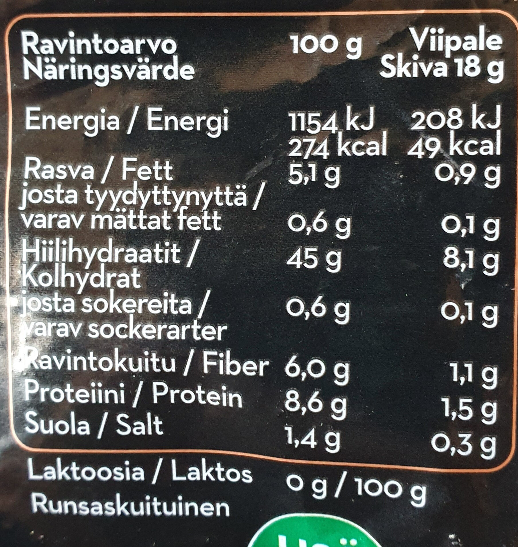 Ohut Kauraherkku - Informations nutritionnelles - fi