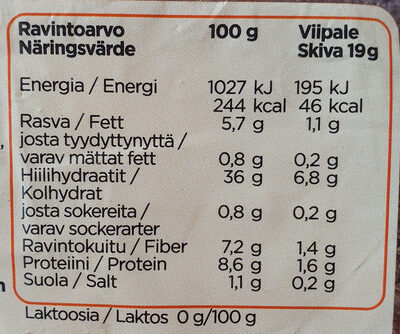 Ohut 100% Kaura - Informations nutritionnelles