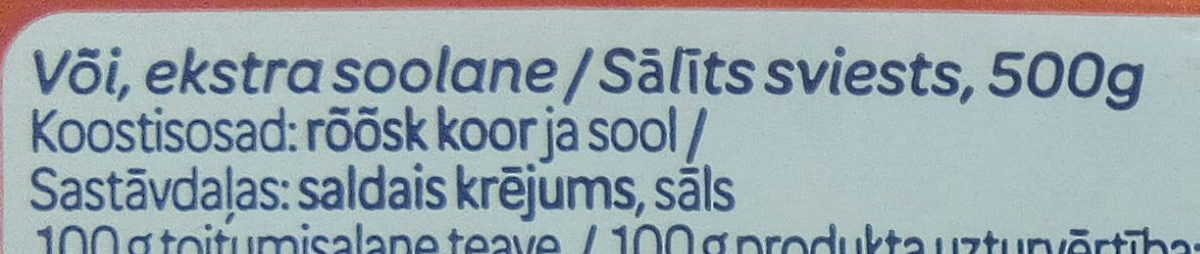 Või smör - Ingredients