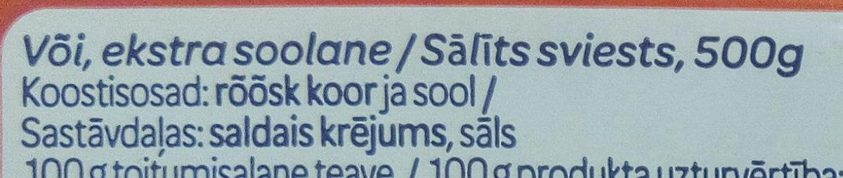 Või smör - Ingrediënten