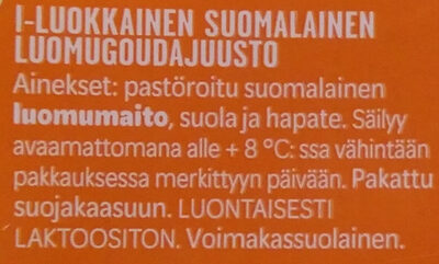 Luomu Gouda-juusto - Ingredients - fi