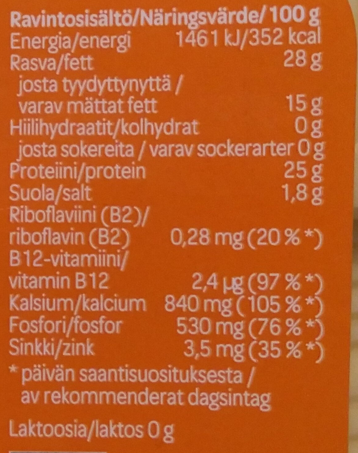 Luomu Gouda-juusto - Nutrition facts - fi