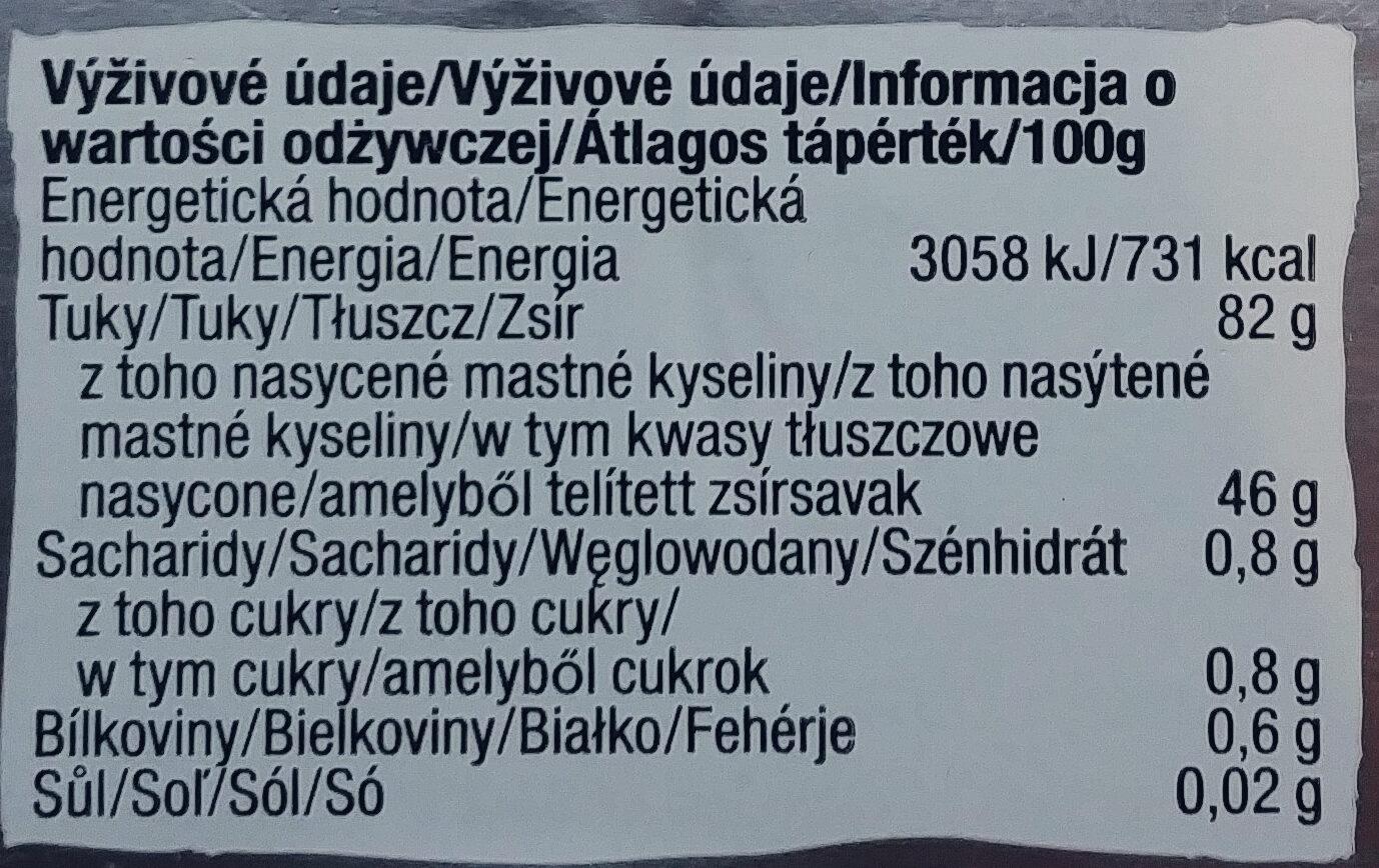 Masło niesolone - Wartości odżywcze - pl