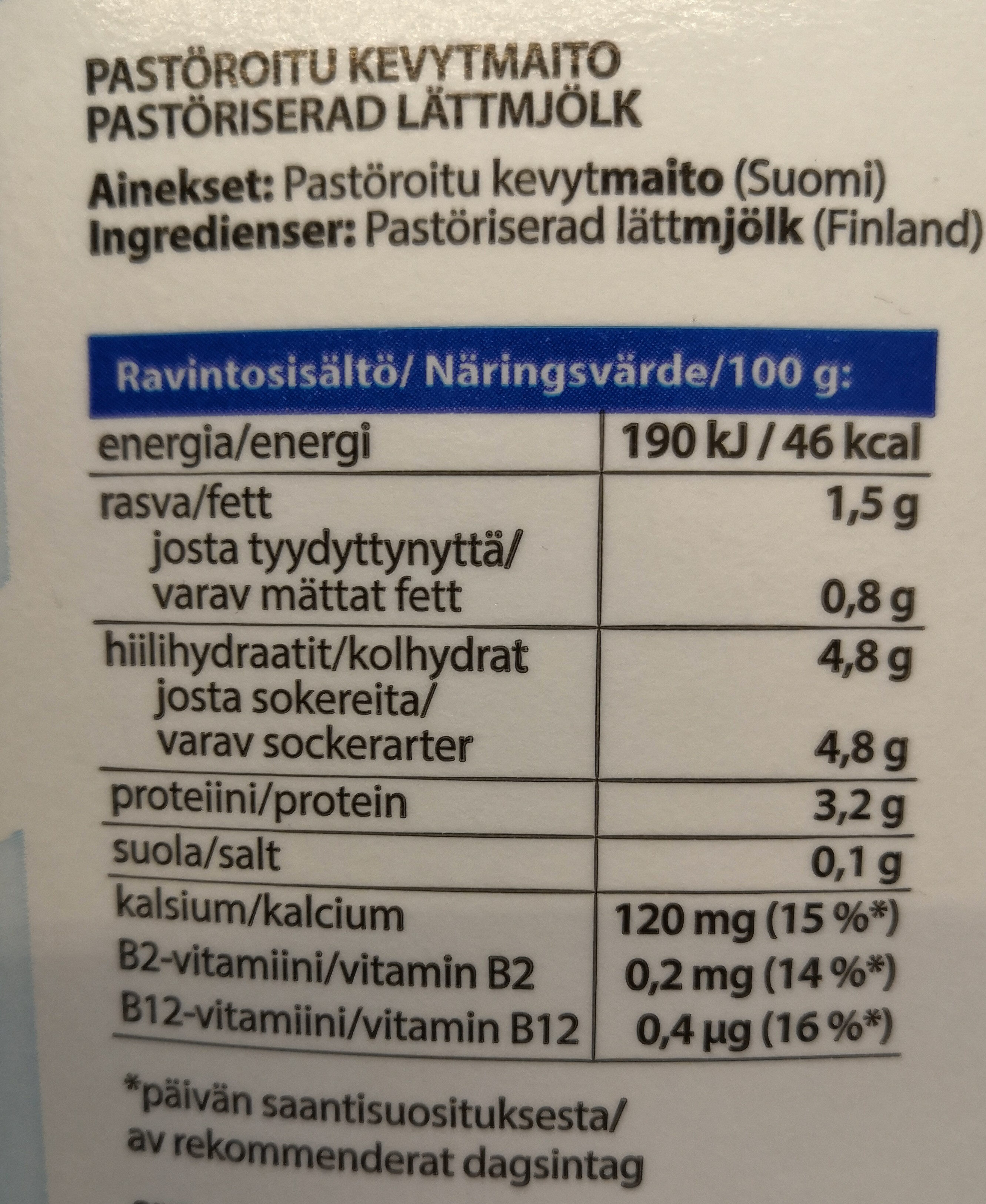 Ulkoilevan vapaan lehmän kevytmaito - Ravintosisältö - fi