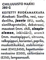 Chilijuusto nakki - Ainesosat - fi