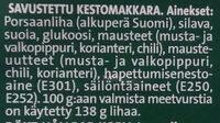 Kotimainen meetvursti - Ainesosat - fi