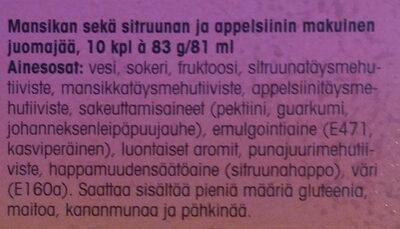 Amppari mansikka-sitrus juomajää - Ingredients - fi
