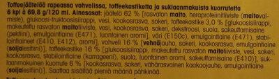 Jäätelötuutit toffee - Ingredients - fi