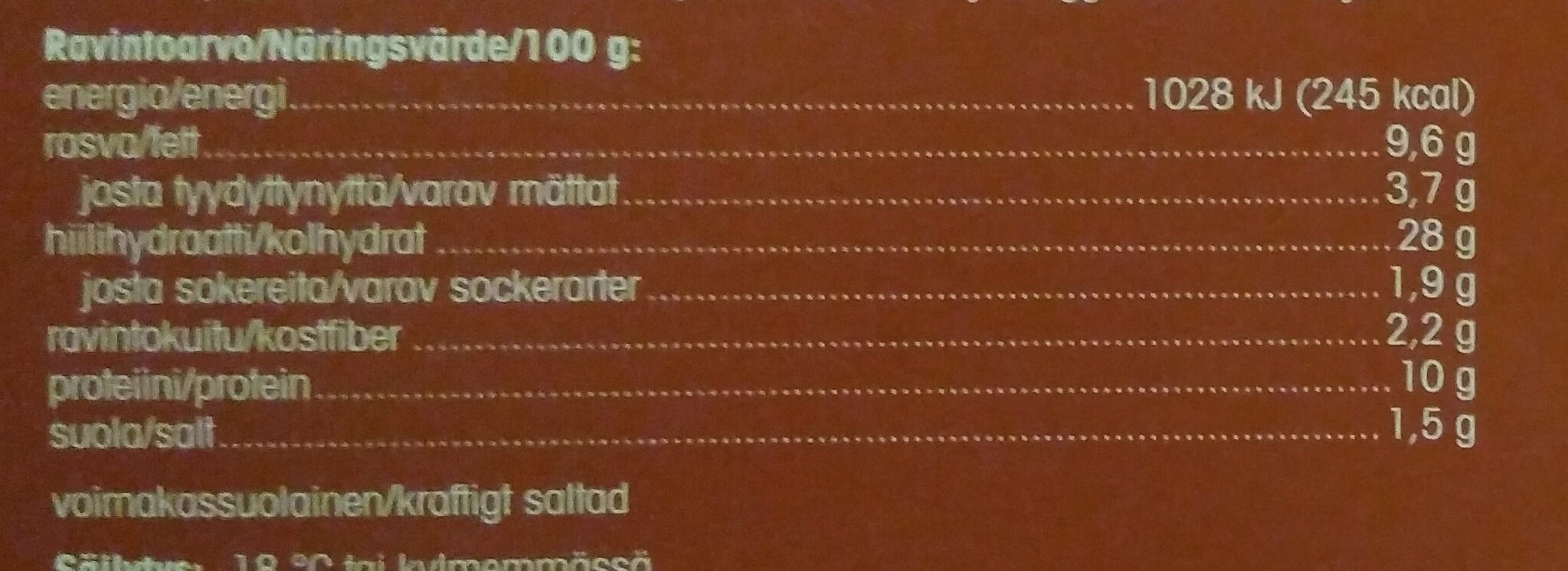 Salami kiviuunipizza - Nutrition facts - fi