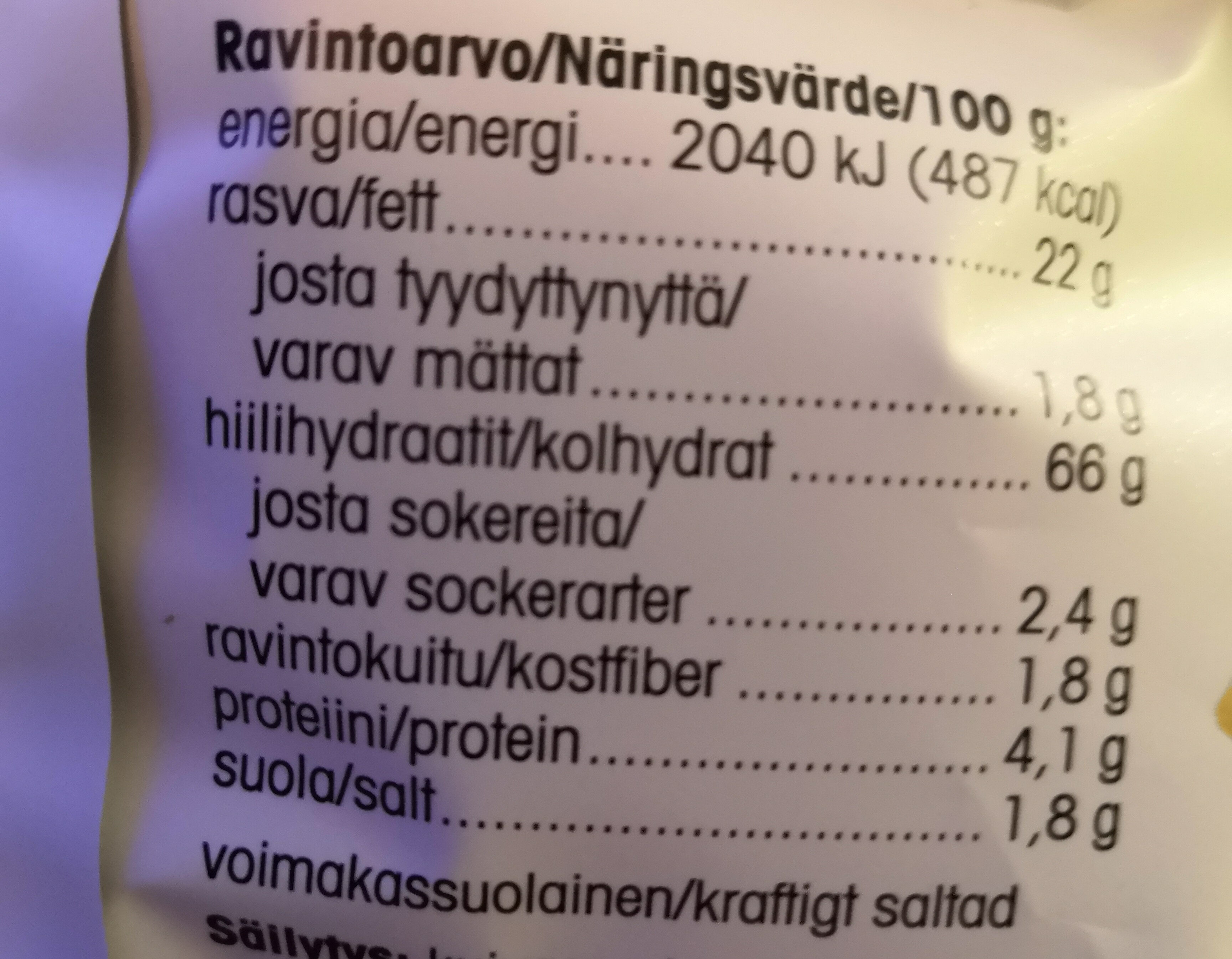 Kvinoa-snacks creamy jalapeno - Informations nutritionnelles - fi