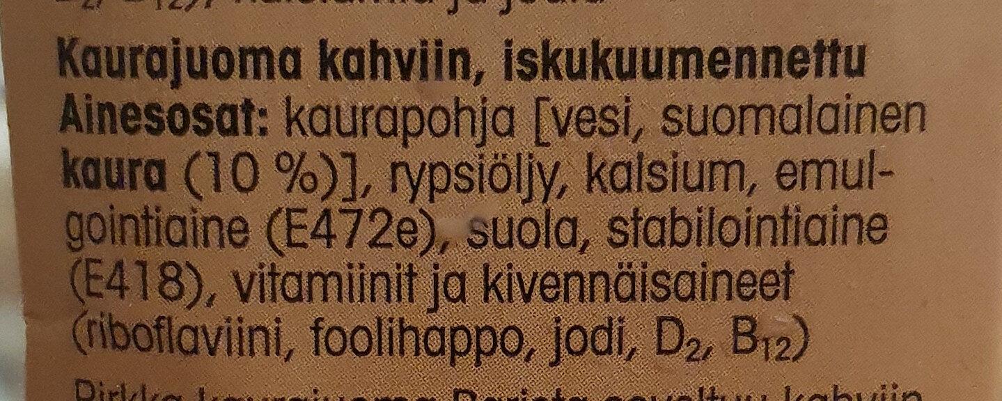 Kaurajuoma Barista - Ingrédients - fi