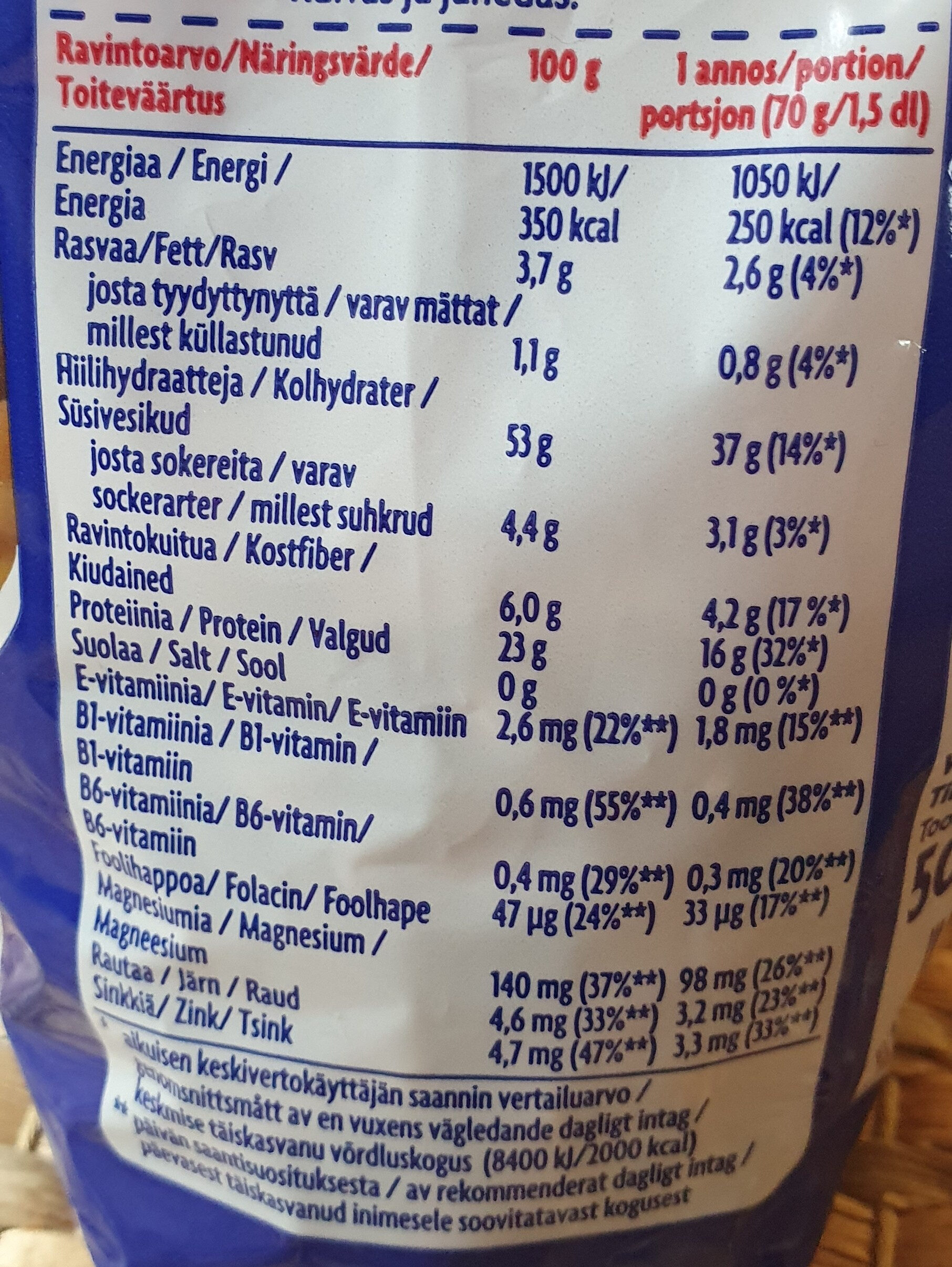 Tumma Proteiini Pasta - Informations nutritionnelles - fi