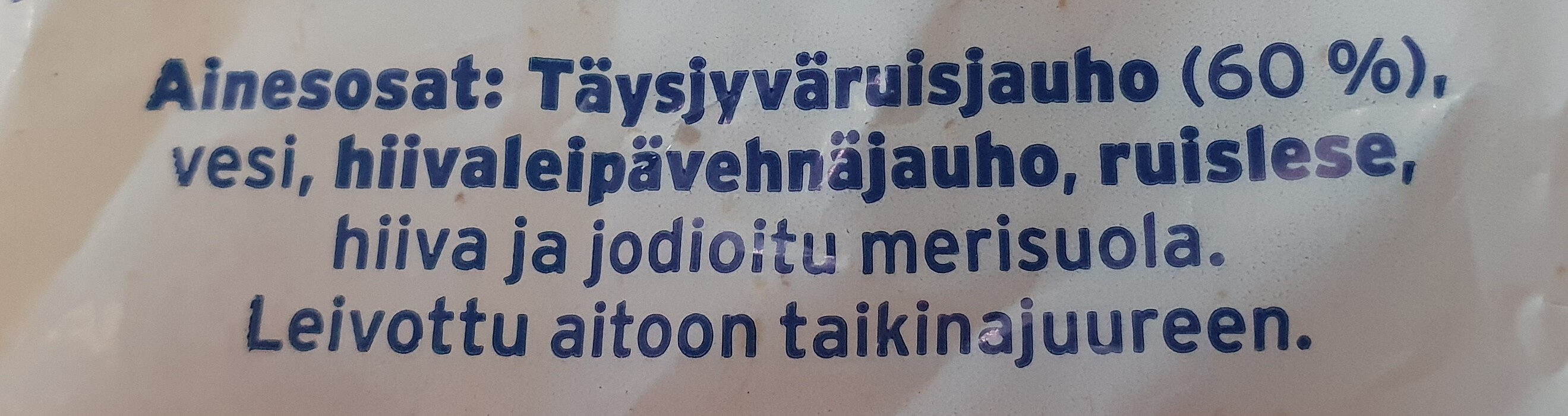 Jälkiuuniviipaleet Täysjyväruisleipä - Ingrédients - fi