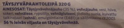 Paahto Täysjyvä & Lese - Ingrédients