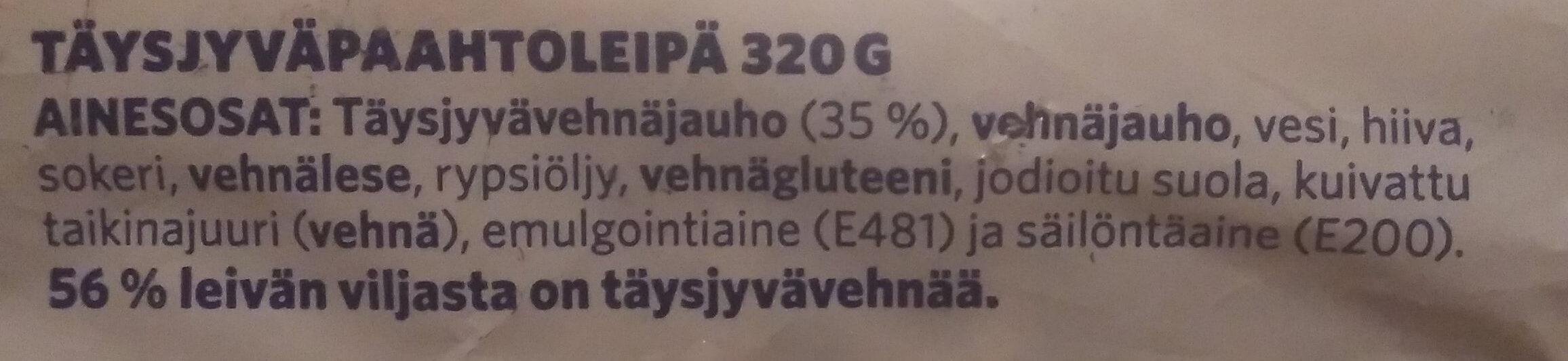 Paahto Täysjyvä & Lese - Ingrédients - fi