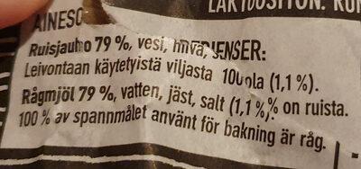 Halkaistu 100% Ruisleipä - Ingrédients - fi