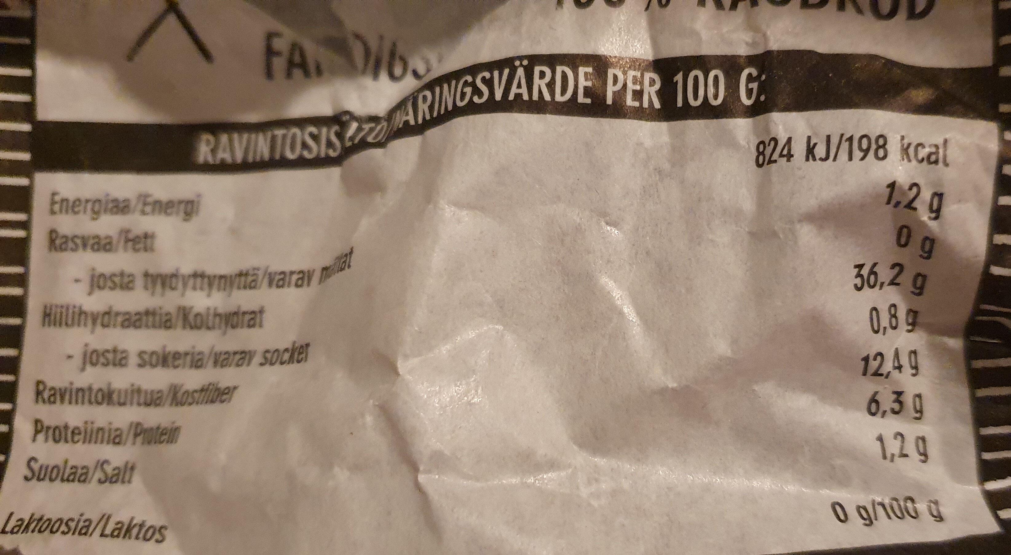 Halkaistu 100% Ruisleipä - Informations nutritionnelles - fi