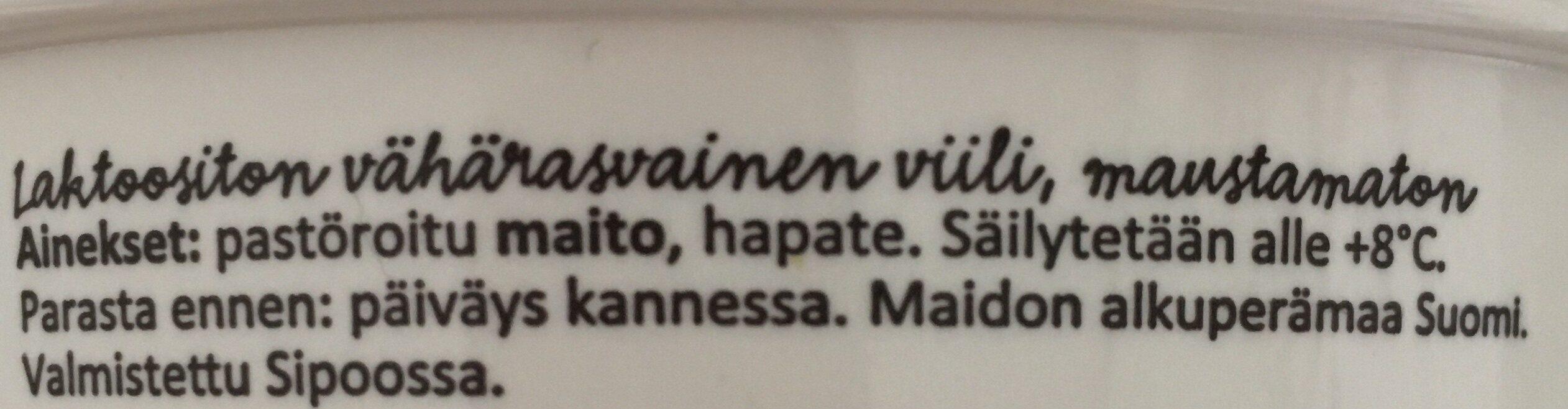Viiliä Suomesta - Ingredients - fi