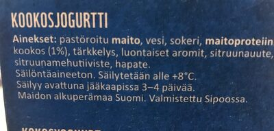 Kookosjogurtti - Ingredients - fi