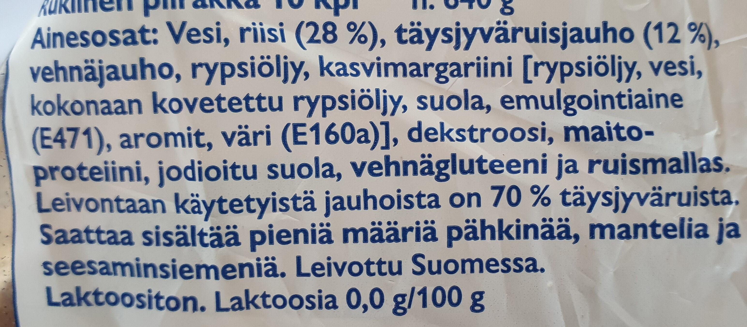 Rukiinen Piirakka - Ingrédients - fi