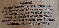 Leipurimestarin Kaura-pellavaleipä - Ingrédients - fi