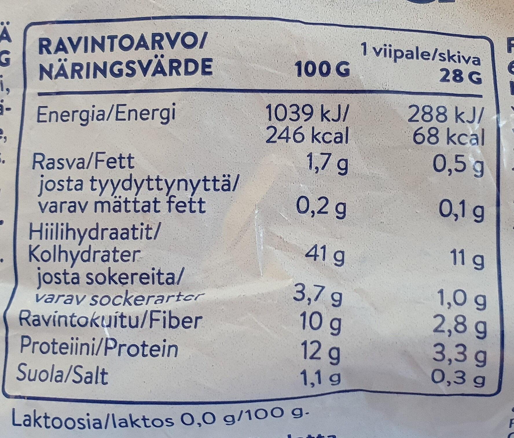Puikula täysjyvaruis - Informations nutritionnelles - fi