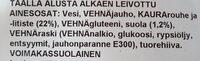 Artesaani-kauraleipä - Ingrédients - fi
