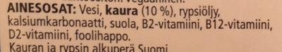 Kaurajuoma - Ingredients