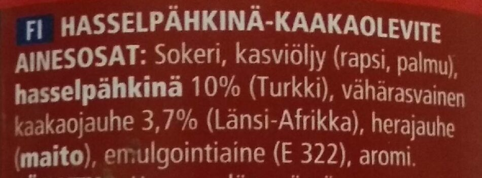 Hasselpähkinä-kaakaolevite - Ingredients - fi