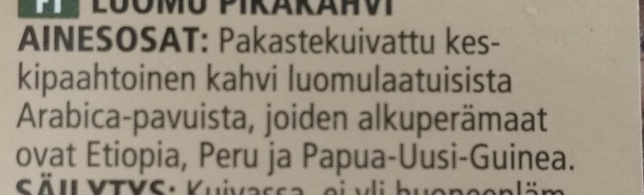 Pikakahvi Snabbkaffe - Ингредиенты - fi