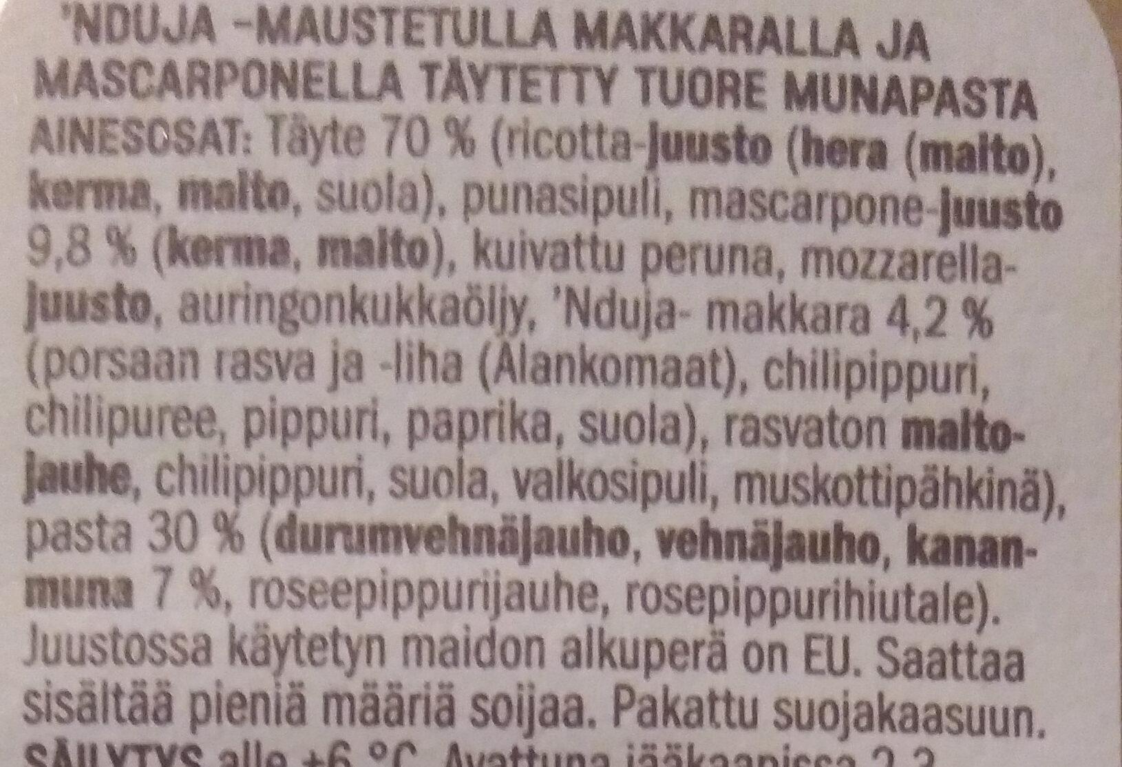'Nduja & Mascarpone Ravioli - Ingredients - fi